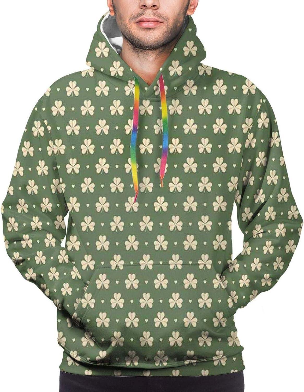 Men's Hoodies Sweatshirts,Clover Leaves Barb Style Clover Lattice Boho Colorful Kids Room Decorations