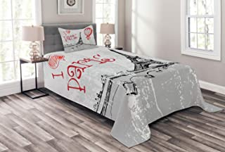 Ambesonne Eiffel Tower Bedspread, I Love Paris Romance Hot Air Balloon with Hearts Doodle Style Print Image, Decorative Quilted 2 Piece Coverlet Set with Pillow Sham, Twin Size, Black Gray
