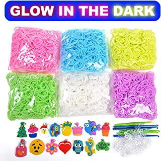 VICOVI 3700+ Rainbow Rubber Bands Glow in The Dark Set Included: 3600+ Premium Quality Loom Bands in 6 Colors + 100 S-Clips + 15 Lovely Charms + 6 Crochet Hooks, No Loom Board Included.