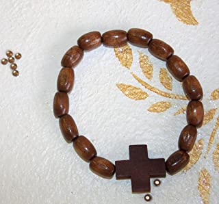 FavorOnline Hand-Crafted Olive Wood Mini Rosary Bracelet with Oval Beads and Cross