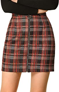 Women's Valentine's Day Check Zip Up Slim Fit Plaid Mini Skirt