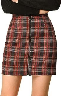 Women's Check Zip Up Slim Fit Plaid Mini Skirt