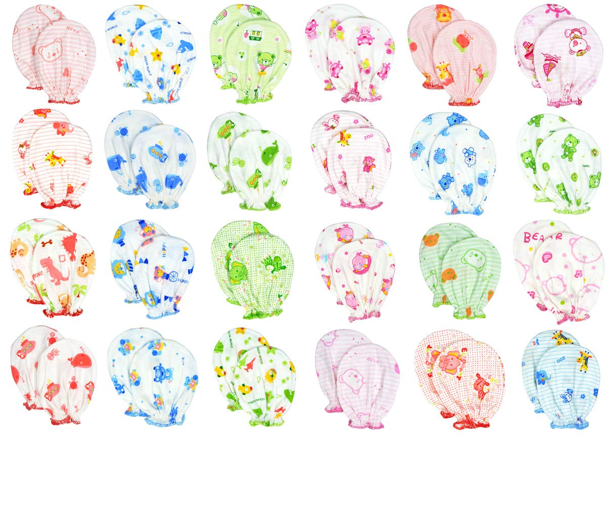 Liwely 6 Pairs Unisex-Baby No Scratch Assorted Mittens, 100% Cotton, Assorted Animals