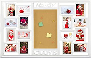 DL furniture - Cork Memory Board Photo Frame 16 Opening Decorative Wall Hanging Stick Board Collage Puzzle Picture Photo Frame 4 x 6 inches Love Theme Arrange Art Display | White Frame