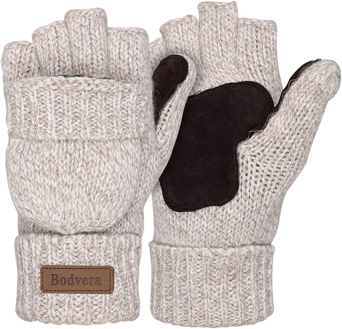 Bodvera Thermal Insulation Fingerless Texting Wool Gloves Unisex Winter Warm Knitted Convertible Mittens Flap Cover