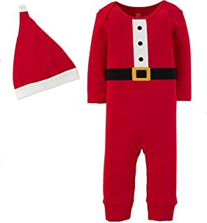 Just One You Baby 2pc Santa Coverall and Hat Set Red