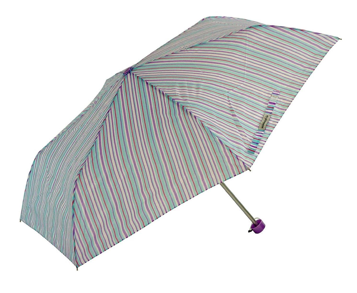 首相パットアンタゴニストアテイン 婦人用 軽量楽々3段折畳傘 親骨50cm マルチカラーストライプ パープル 5152