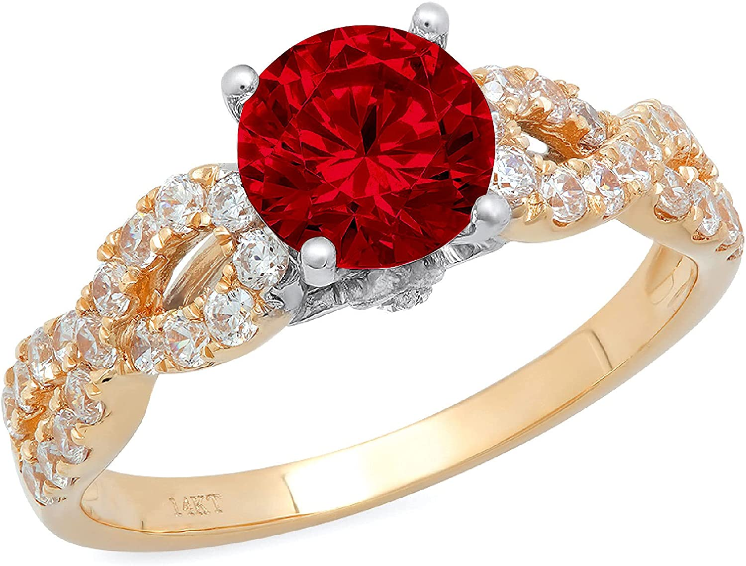 1.35ct Brilliant Round Cut Solitaire Genuine Flawless Natural Red Garnet Gemstone Engagement Promise Anniversary Bridal Wedding Accent Ring Solid 18K 2 tone Gold