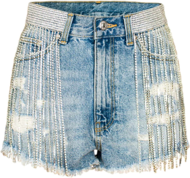 Fllaees Women's Denim Shorts Fashion Trend Sexy Tassel Personality Decoration Washed