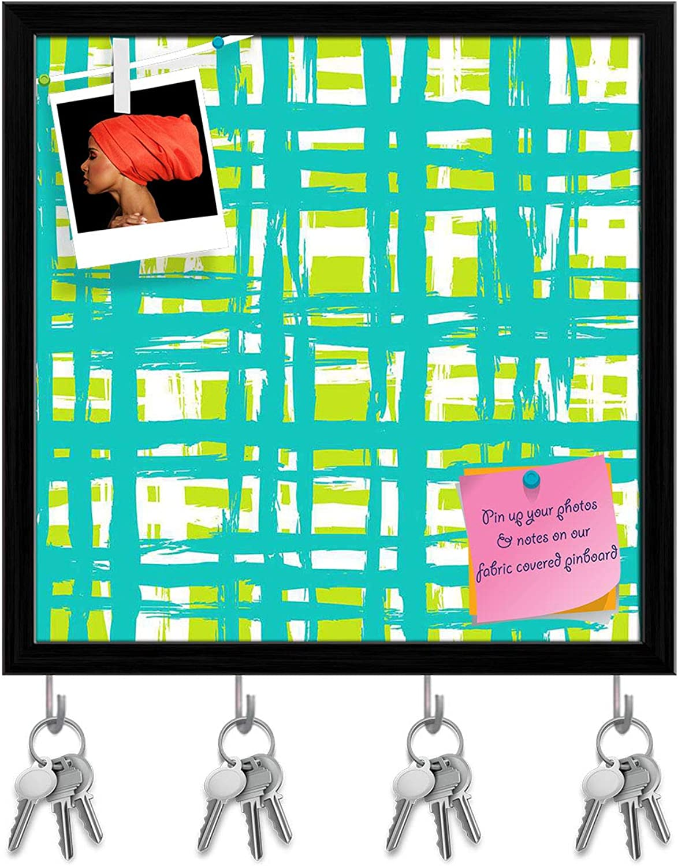 Artzfolio Vintage Lines Key Holder Hooks   Notice Pin Board   Black Frame 20 X 20Inch
