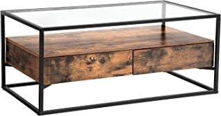 VASAGLE GLATAL Glass Coffee Table with 2 Drawers, Tempered Glass Top with Storage Shelf, Living Room, Lounge, Stable Steel...