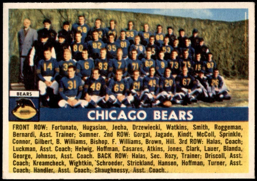 1956 Topps # 119 Bears Team Today's only Card 5 popular Football Chicago EX+ Be