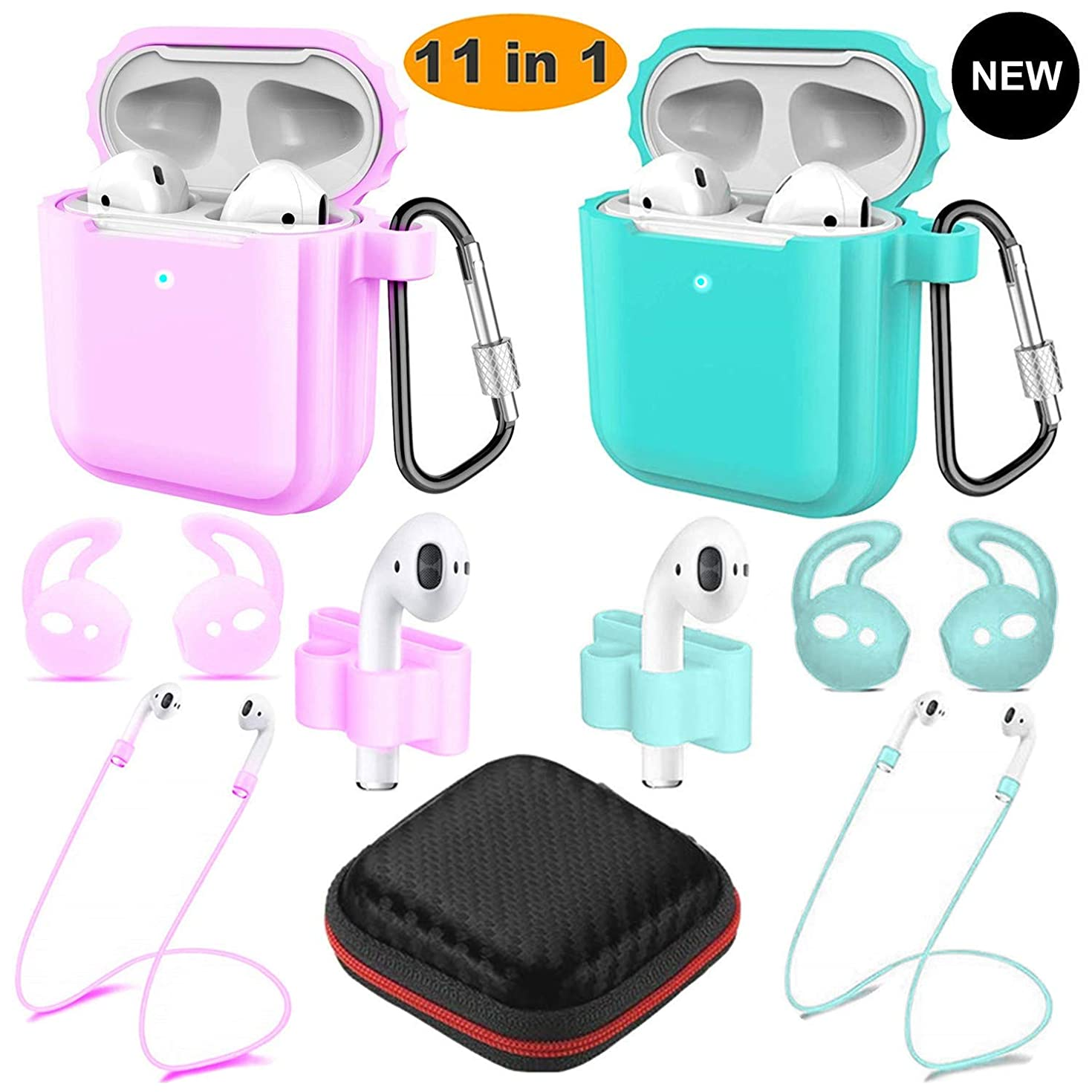 Airpods Wireless Charging Case, Airpods Accessories Kits, [Front LED Visible] 2 Pack Protective Silicone Cover Skin for Apple Airpods 2 &1Support Wireless Charging (Light Purple+Green)