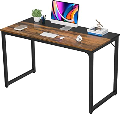 Homfio 47 Inch Computer Desk Home Office Study Writing Desk PC Laptop Table, Modern Simple Sturdy Gaming Desks Multi-Usage Wooden Desk, Space Saving, Easy to Assemble, Rustic Brown and Black