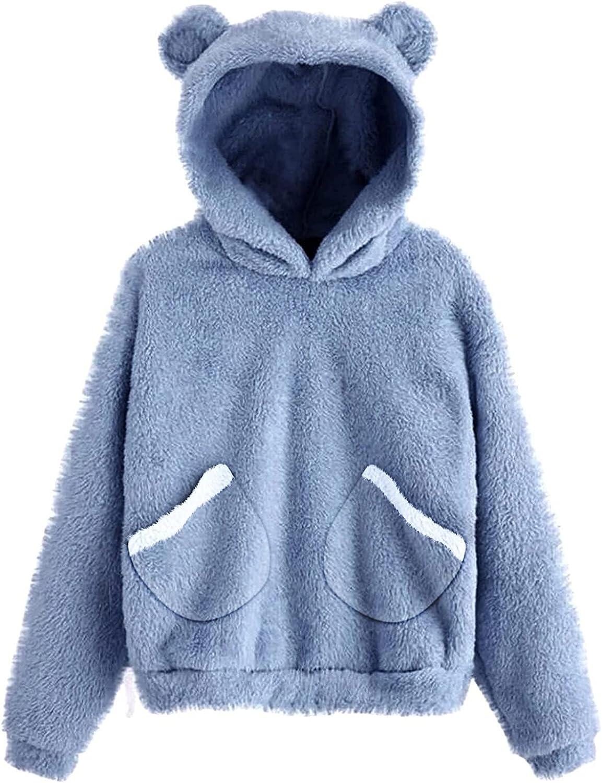Cute Teddy Bear Hoodie Coat for Womens Teen Girls Long Sleeve Fleece Sweatshirt Bear Shape Fuzzy Hoodie Sweater Pullover