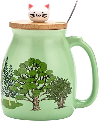 lowest Yueshico Cute Mug 2021 Ceramic Green Forest Coffee Cup with Lovely Cat Bamboo high quality Lid Stainless Steel Spoon, Novelty Morning Cup Tea Milk Christmas Mug Gift 420ML (Green) outlet online sale