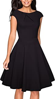 Women's Vintage Scoop Neck Casual Party Flare Dress