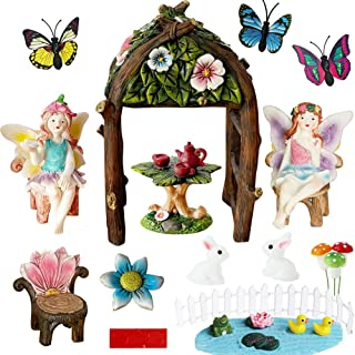 BangBangDa Miniature Fairy Garden Decorations Supplier – Fairy Garden Accessories Kit for Trellis Arbor Arch Gate for Indo...