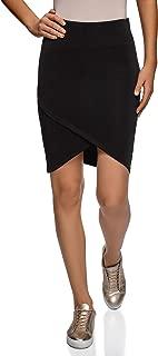 oodji Ultra - Falda de Punto para Mujer con Dobladillo asimétrico