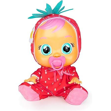 CRY BABIES Tutti Frutti Ella, fragola, Bambola Interattiva Profumata alla Fragola che Piange Lacrime Vere con Ciuccio, per Bambini e Bambine dai 2 Anni