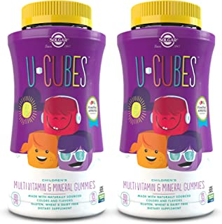 Solgar U-Cubes Children's Multi-Vitamin & Minerals, 120 Gummies - Pack of 2 - 3 Great-Tasting Flavors, Grape, Orange & Che...