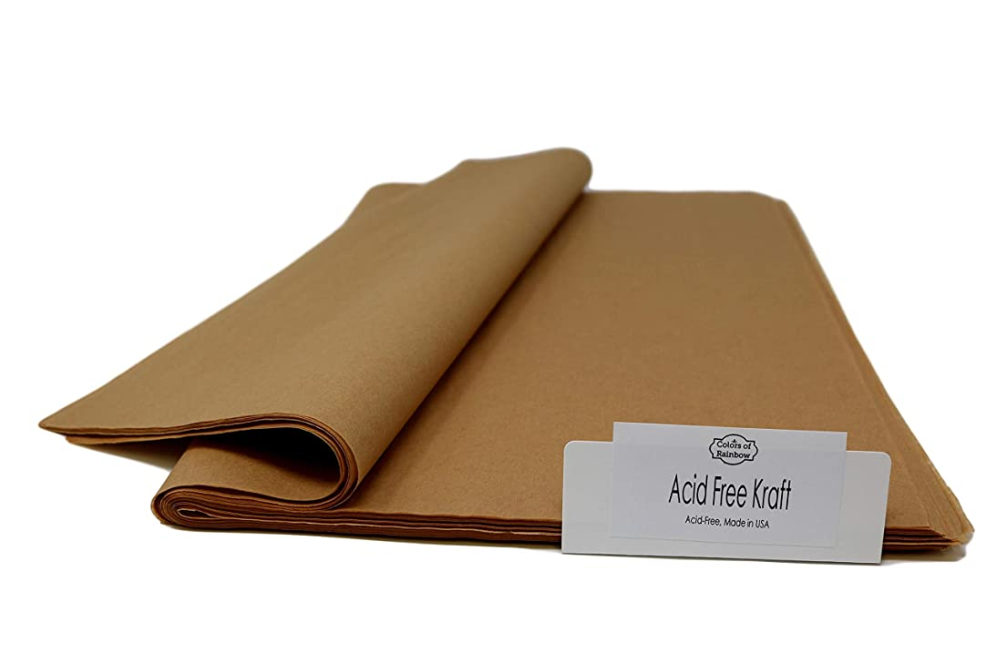 """Acid-Free Kraft - 15"""" x 20"""" - Tissue Paper for Flower, Party, Gift Bags, Pom Poms, Wedding, Bridal, Baby Shower - Made in United States by Colors of Rainbow (96 Sheets, Acid-Free Kraft)"""