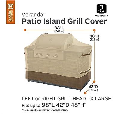 Classic Accessories 55-627-051501-00 Veranda Water-Resistant 98 Inch Island BBQ Grill Head Cover,Pebble,X-Large