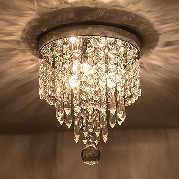Riomasee Mini Chandelier Flush Mount Crystal Ceiling Light 3 Lights Modern Crystal Light Fixtures For Bedroom Hallway Closet Girls Room Chrome Amazon Com