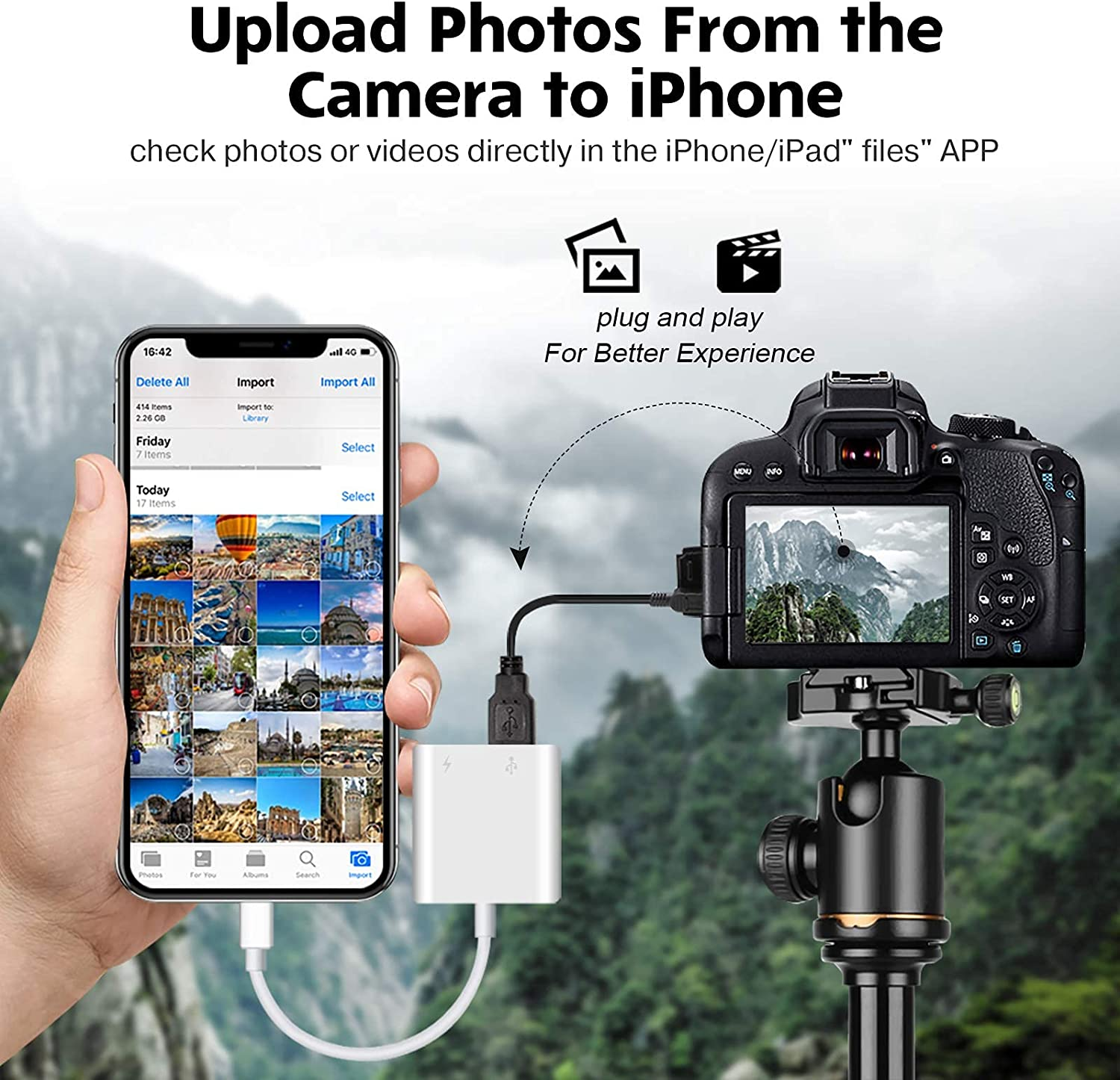 USB Camera Adapter, USB Female OTG Adapter Compatible with iPhone iPad, Portable USB Adapter for iPhone with Charging Port, No Application, Plug and Play