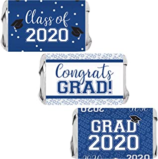 Best Class of 2020 Graduation Mini Candy Bar Wrappers - 45 Stickers (Blue) Review