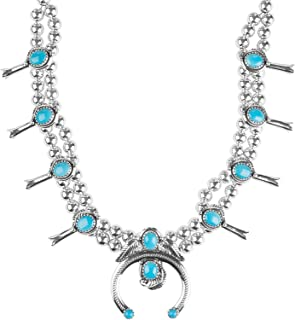 American West Sterling Silver Multi Gemstones Choice of 4 Different Colors Squash Blossom Necklace 21 Inch