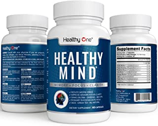 Healthy Mind Brain Booster Supplement - All Natural Nootropic | Increased Mental Clarity, Focus, Memory | No Added Stimulants or Sugars | 60 Gel Capsules