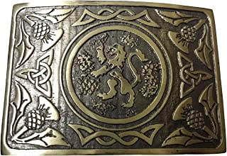 SCOTTISH RAMPANT LION ANTIQUE GOLD FINISH KILT BELT BUCKLE