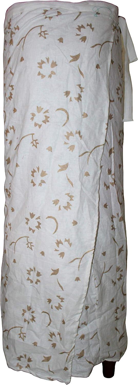 Lakkar Haveli Women's Wrapron Skirt Ethnic Gypsy Casual Long Hippie White Color Floral Print Plus Size
