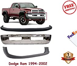 Front Bumper Kit For 1994-2001 Dodge Ram 1500 2500 3500 Chrome Steel Face Bar Up and Low Cover non Sport Models W/O tow hooks Set of 3 CH1002256 CH1000160 CH1000232