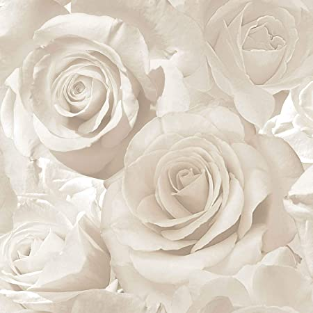 Muriva Madison Glitter Pearl Wallpaper 139524 - Flower Floral Large Roses Cream