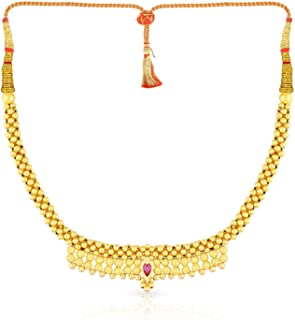 Malabar Gold and Diamonds Tushi Collection 22k (916) Yellow Gold and Crystal Choker Necklace for Women