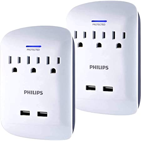 Philips 3-Outlet Extender 2-USB Surge Protector, Compact Wall Adapter, 3-Prong, 900 Joules, Grounded AC Outlets, 2 Pack, White, SPP6236WB/37
