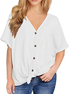 Womens Waffle Knit Tunic Blouse Short Sleeve V Neck Button Down T Shirts Casual Tie Front Knot Henley Tops