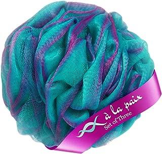Loofah Bath Sponge XL 70g Set of 3 Tropical Colors by À La Paix -Soft Exfoliating Shower Lufa for Silky Skin -Long-Handle Mesh Body Poufs -Men and Women's Luffas -Lush Texture -Full Cleanse & Lather