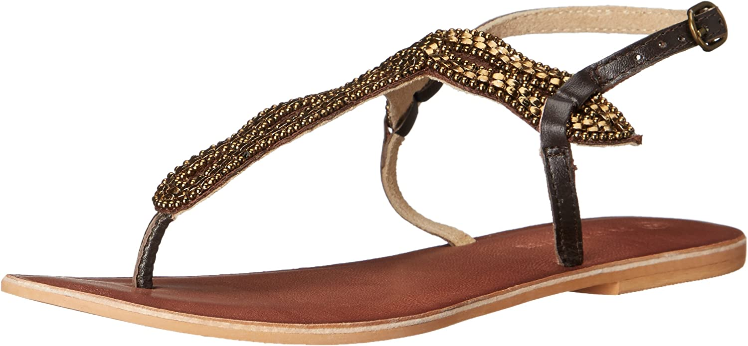Roper Women's Silver Leather Cooper Metal Beaded Thong Sandals - 09-021-0607-1145 Bl