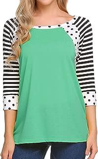 Women's Polka Dots Shirt Striped 3/4 Sleeve Casual Scoop Neck Tops Tee S-XXXL