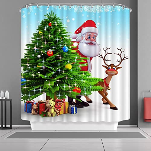 2019 Latest Design 3d Christmas Deer 79 Shower Curtain Waterproof Fiber Bathroom Windows Toilet Bath