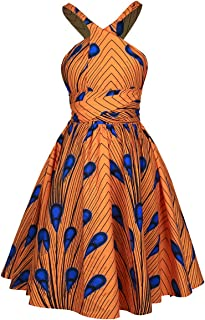 Hoohu Womens Boho African Style Sexy Deep V-Neck Floral Print Pleated Mini Swing Short Dress for Casual Club Party