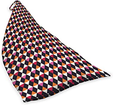 ABAKUHAUS Géométrique Jouet Sac de Rangement Chaise Lounge, Rhombus Forme Vintage, Stockage pour Animal en Peluche à Haute Ca