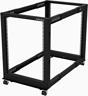 "StarTech.com 19 Inch 15U Open Frame Rack - 4 Post - 22-40"" Adjustable Depth - 1200 lb. Capacity w/Casters and Cable Hooks (4POSTRACK15U)"