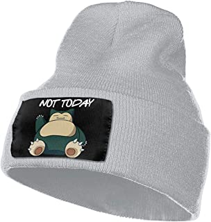 CONNOR LEONARD Snorlax Not Today Winter Warm Soft Fashion Knit Cap Beanie Hats for Mens Womens Black