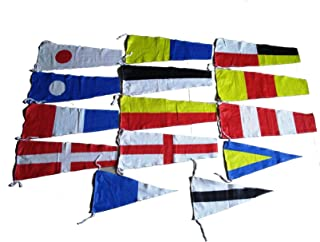 Brass Blessing Marine Product - Nautical Sailboat Boating Signal Code Flag - 100% Cotton -Set of Total 14 Flags (5041)