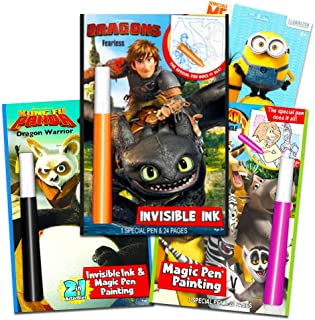 DreamWorks Invisible Ink Activity Book Set for Kids Toddlers -- 3 Travel Activity Books Featuring How to Train Your Dragon, Kung Fu Panda, Madagascar with Invisible Ink Pens with Stickers
