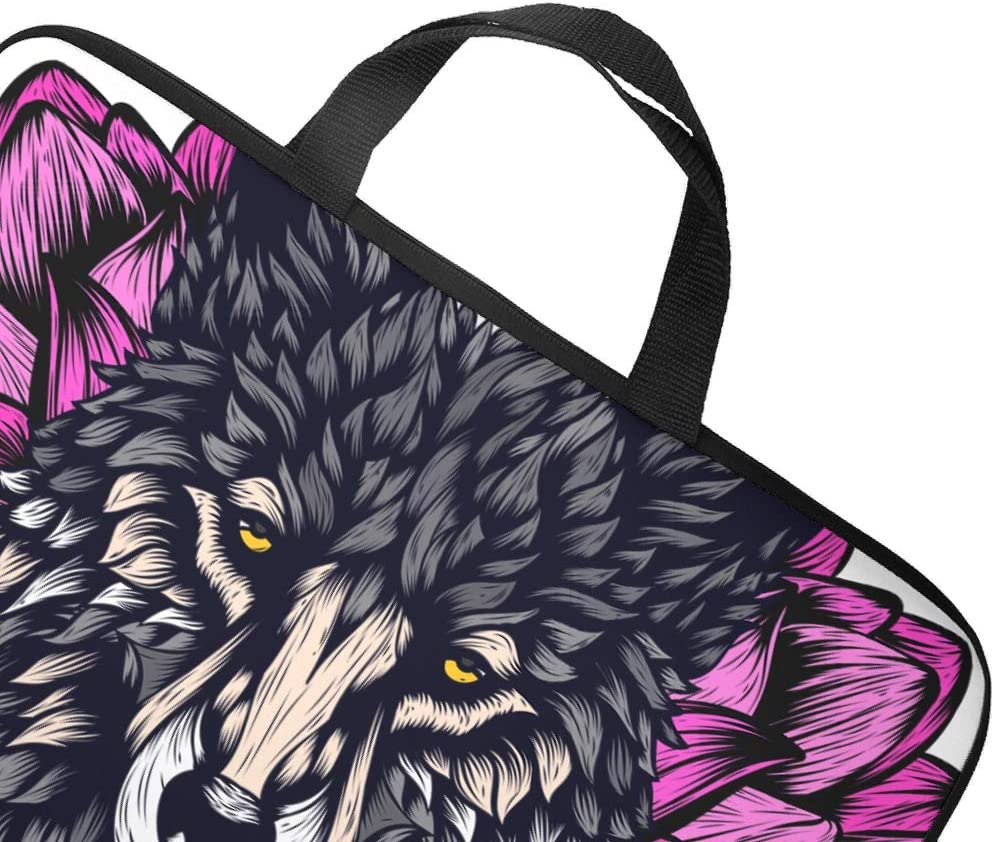 Wolf Flower Animal Totem Laptop Sleeve Trendy Graphic Notebook Cover Anti-Scratch Neoprene Fabric Laptop Handbag for Businessmen Office Staff White 13inch
